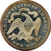 USA Dollar Seated Liberty Dollar 1870 KM# 100 UNITED STATES OF AMERICA IN GOD WE TRUST ONE DOL. coin reverse