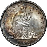 USA Half Dol. Seated Liberty 1846 medium date KM# 68 LIBERTY coin obverse