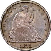 USA Half Dol. Seated Liberty 1871 KM# 99 LIBERTY coin obverse