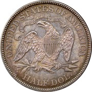 USA Half Dol. Seated Liberty 1871 KM# 99 UNITED STATES OF AMERICA HALF DOL. IN DOG WE TRUST coin reverse