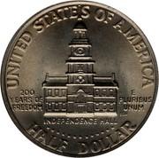 USA Half Dollar Kennedy Bicentennial 1976 KM# 205 UNITED STATES OF AMERICA HALF DOLLAR 200 YEARS OF FREEDOM INDEPENDENCE HALL E PLURIBUS UNUM coin reverse