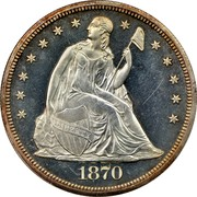 USA One Dol. Seated Liberty 1870 KM# 100 LIBERTY coin obverse