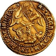UK 1/2 Angel James I (1604-1619) KM# 43 ∙IACOBVSD:G:MA:BRI:FRA:ET∙HI:REX∙ coin obverse