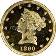 USA $10 Ten dollars (Eagle) Coronet Head 1890 KM# 102 LIBERTY DATE coin obverse