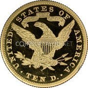 USA $10 Ten dollars (Eagle) Coronet Head 1890 KM# 102 • UNITED STATES OF AMERICA • TEN D. • IN GOD WE TRUST coin reverse