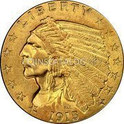 USA $2.50 Two and half Dollars (Quarter eagle) Indian Head - Quarter Eagle 1915 KM# 128 LIBERTY B.L.P. coin obverse