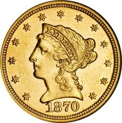 USA 2 ½ D. Coronet Head - Quarter Eagle 1870 KM# 72 LIBERTY coin obverse
