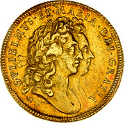 UK 2 Guineas William and Mary 1694/3 KM# 482.1 GVLIELMVS∙ET∙MARIA∙DEI∙GRATIA coin obverse