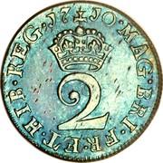 UK 2 Pence Anne 1710 KM# 513 MAG∙BRI∙FR∙HIB∙REG∙*YEAR*∙ 2 coin reverse