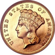 USA 3 Dollars Indian Head 1870 KM# 84 UNITED STATES OF AMERICA LIBERTY coin obverse