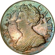 UK 3 Pence Anne 1710 KM# 514 ANNA ∙ DEI ∙ - GRATIA ∙ coin obverse