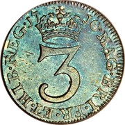 UK 3 Pence Anne 1710 KM# 514 MAG∙BRI∙FR∙ET∙HIB∙REG ∙*YEAR*∙ 3 coin reverse