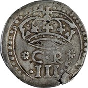 UK 3 Shillings Charles I 1645 KM# 349 C ∙ R ∙ III ∙ S coin obverse