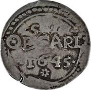 UK 3 Shillings Charles I 1645 KM# 349 OBSCARL ∙ 1645 ∙ coin reverse