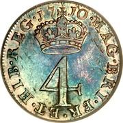 UK 4 Pence Groat 1710 KM# 515 MAG ∙ BR ∙ VR ∙ ET ∙ HIB ∙ REG ∙ coin reverse