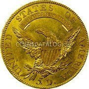 USA $5 Five Dollars (Half eagle) Capped Bust 1807 KM# 38 UNITED STATES OF AMERICA E PLURIBUS UNUM 5 D. coin reverse