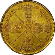 UK 5 Guineas Charles II 1677 KM# 430.1 MAG∙ BR∙FRA∙ ET∙HIB∙ REX∙*YEAR*∙ coin reverse