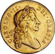UK 5 Guineas Charles II 1679 KM# 444.1 CAROLVS∙II∙ DEI∙GRATIA coin obverse