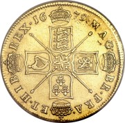 UK 5 Guineas (Charles II) KM# 444.2 MAG∙ BR∙FRA∙ ET∙HIB∙ REX∙*YEAR*∙ coin reverse