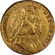 UK 5 Guineas William and Mary 1691 KM# 479.2 GVLIELMVS∙ET∙MARIA∙DEI∙GRATIA coin obverse