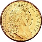 UK 5 Guineas William and Mary 1692 KM# 479.1 GVLIELMVS∙ET∙MARIA∙DEI∙GRATIA coin obverse