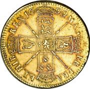 UK 5 Guineas William III 1699 KM# 505.2 MAG∙ BR∙FRA∙ ET∙HIB REX∙16 99∙ coin reverse