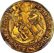 UK Angel (Elizabeth I) KM# E7 OELIZABET..D:G:ANG:FR:ET:HIB:REGINA coin obverse
