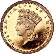 USA Dollar Indian Head - Type 3 1865 KM# 86 UNITED STATES OF AMERICA LIBERTY coin obverse