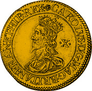 UK Double Crown Charles I (1631-1632) First milled Briot issue. KM# 169 CAROLVS∙D:G:MAG∙BRITAN∙FRAN∙ET∙HIB∙REX ∙X∙ coin obverse