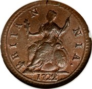 UK Farthing George I 1722 KM# 556 BRITA N NIA ∙ coin reverse