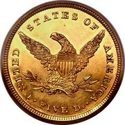 USA Five D. Coronet Head 1839 KM# 69 UNITED STATES OF AMERICA FIVE D. coin reverse