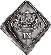 UK IX Pence Newark 1646 KM# 369.1 C R IX coin reverse