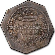 UK Shilling Charles II 1648 Second Issue: In the name of Charles II. KM# 383.2 CAROL:II:D:G:MAG:B:F:ET:H:TRX HANG:DE VS DEDIT 1648 coin obverse