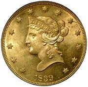 USA Ten D. Coronet Head 1839/8 Type of 1838 KM# 66.1 LIBERTY coin obverse