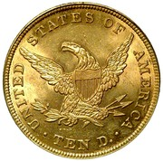 USA Ten D. Coronet Head 1839/8 Type of 1838 KM# 66.1 UNITED STATES OF AMERICA TEN D. coin reverse