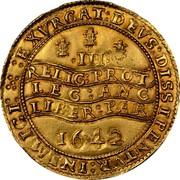 UK Triple Unite Charles I 1642 Oxford KM# 233 III EXVRGAT:DEVS:DISSIPENTVR: INIMICI: RELIG: PROT :LEG: ANG :LIBER: PAR 1642 coin reverse
