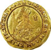 UK Triple Unite Charles I with scarf behind 1643 KM# 256.1 CAROLVS.D:G:MAGN:BRIT:FR:ET:HI:REX coin obverse