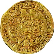 UK Triple Unite Charles I with scarf behind 1643 KM# 256.1 EXVRGAT.DEVS.DISSIPENTVR.INIMICI III RELIG:PROT:LEG:ANG:LIBER.PAR: 1643 coin reverse