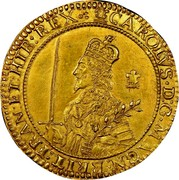 UK Triple Unite Charles I without scarf behind 1643 KM# 256.2 CAROLVS.D:G:MAGN:BRIT:FRAN:ET:HIB:REX coin obverse