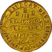 UK Triple Unite Charles I without scarf behind 1643 KM# 256.2 EXVRGAT.DEVS.DISSIPENTVR.INIMICI III RELIG:PROT:LEG:ANG:LIBER.PAR: 1643 coin reverse