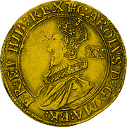 UK Unite Charles I (1642) Shrewsbury KM# 337 CAROLVS∙D:G:MA:BR: FR:ET HIB:REX XX coin obverse