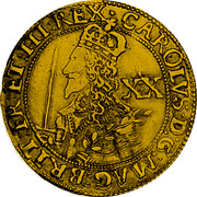 UK Unite Charles I 1643 Oxford KM# 254 CAROLVS∙D:G∙MAG:BRIT:FR:ET∙HI:REX∙ XX coin obverse