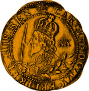 UK Unite Charles I 1644 Oxford KM# 336 CAROLVS∙D:G∙MAG:BRIT:FR:ET∙HIB:REX∙ XX coin obverse