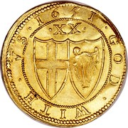 UK Unite Commonwealth of England (Sun) 1651 KM# 395.1 *YEAR* ∙ GOD ∙ WITH ∙ VS ∙ ∙XX∙ coin reverse