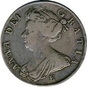 UK 1/2 Crown Anne E below bus 1708 KM# 525.2 ANNA∙DEI∙ GRATIA∙ E coin obverse