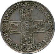 UK 1/2 Crown Anne E below bus 1708 KM# 525.2 *YEAR*∙MAG BRI∙FR ET∙HIB REG∙ coin reverse
