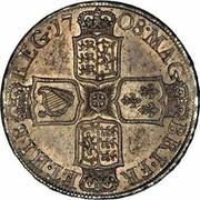 UK 1/2 Crown Anne no E no plumes 1708 KM# 525.1 MAG - BRI ∙ FR - ET ∙ HIB - ∙ REG ∙ coin reverse