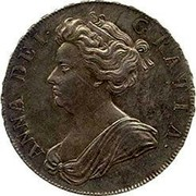 UK 1/2 Crown Anne Plumes in angles 1704 KM# 518.3 ANNA ∙ DEI ∙ - GRATIA ∙ coin obverse