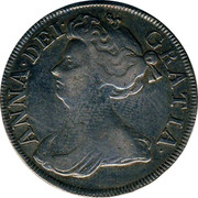 UK 1/2 Crown Anne Roses and plumes 1714 KM# 525.4 ANNA∙DEI∙ GRATIA∙ coin obverse