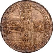 UK 1/2 Crown Anne VIGO no plumes 1703 KM# 518.2 MAG - BR ∙ FRA - ET ∙ HIB - REG ∙ coin reverse